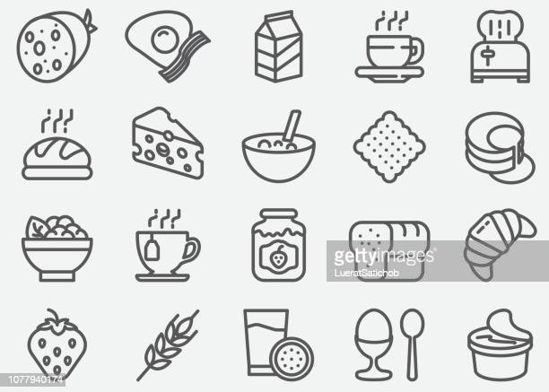 breakfast line icons - juice drink stock illustrations, clip art, cartoons, & icons