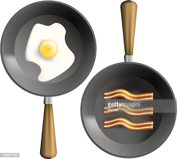 ilustrações, clipart, desenhos animados e ícones de frigideira de pequeno-almoço - frito