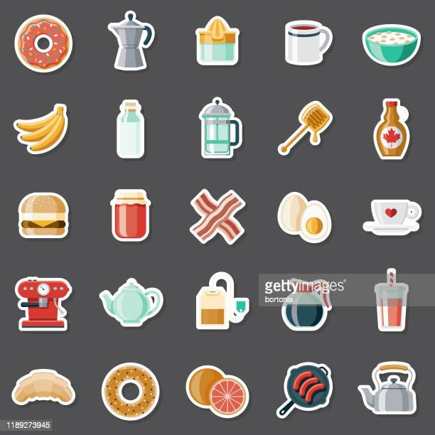 breakfast sticker set - maple syrup stock illustrations