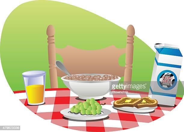 ilustrações de stock, clip art, desenhos animados e ícones de quadro de pequeno-almoço - mesa cafe da manha