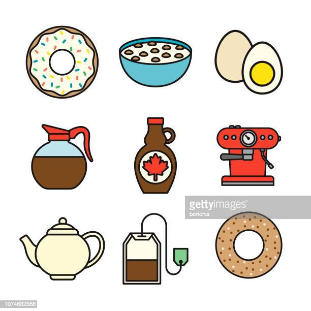breakfast thin line icon set - maple syrup stock illustrations