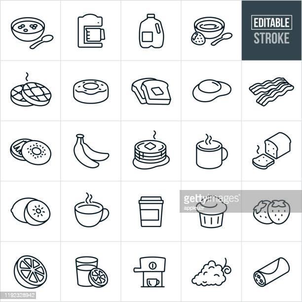 stockillustraties, clipart, cartoons en iconen met ontbijt dunne lijn icons-bewerkbare lijn - ontbijt