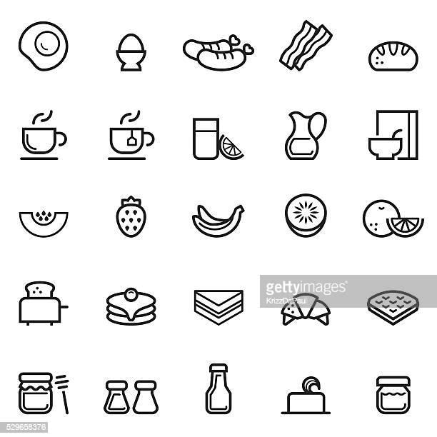 ilustrações, clipart, desenhos animados e ícones de linha fina ícones de café-da-manhã - croassão