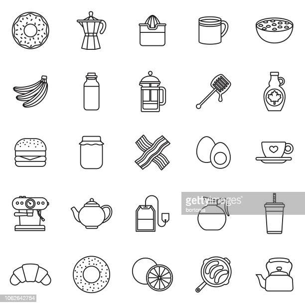 breakfast thin line outline icon set - breakfast cereal stock illustrations, clip art, cartoons, & icons