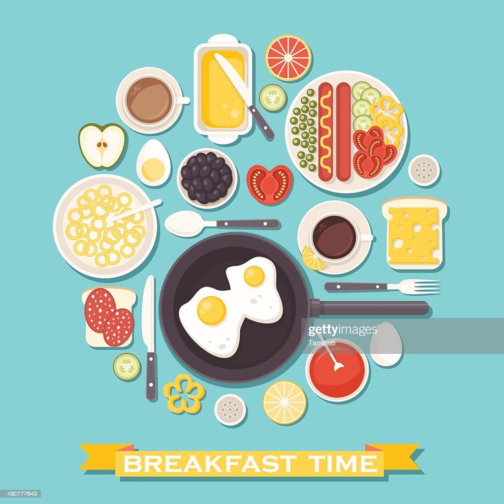 Breakfast time illustration with food and drinks