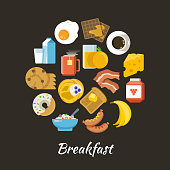 Breakfast vector concept. Fresh and healthy food flat iconce in circle design