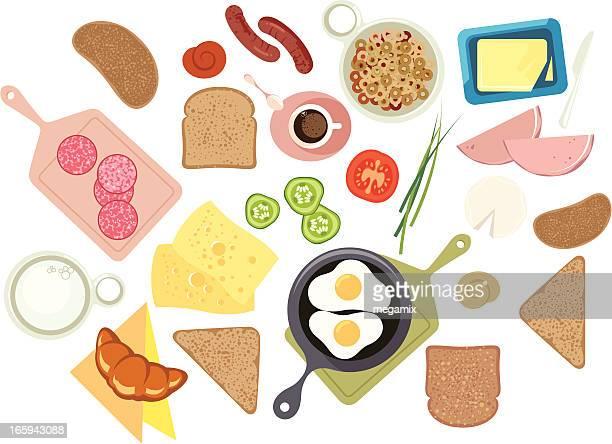 illustrazioni stock, clip art, cartoni animati e icone di tendenza di la prima colazione. - pane integrale