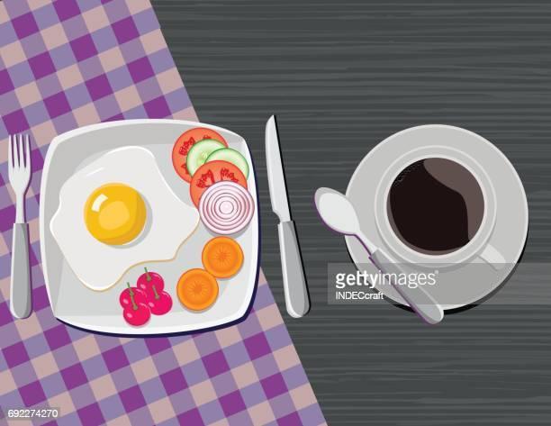 ilustraciones, imágenes clip art, dibujos animados e iconos de stock de el desayuno - mesa de comedor