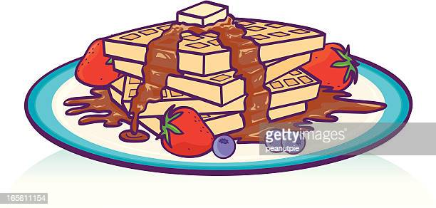 breakfast waffles - waffle stock illustrations, clip art, cartoons, & icons