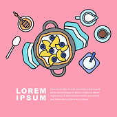 Breakfast,Yogurt and berry fruit, bakery icon,food flat design element