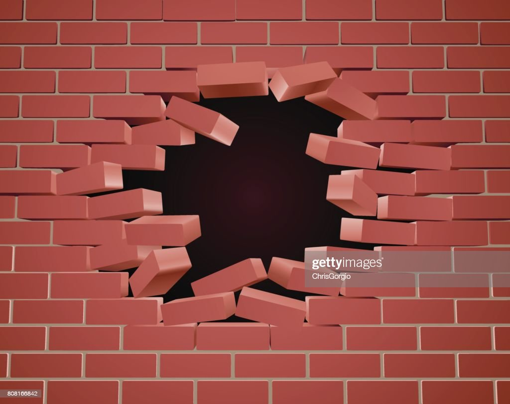 Breaking Brick Wall Hole