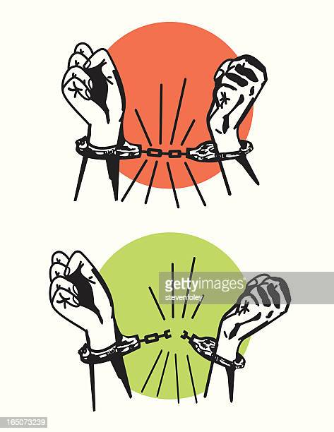 breaking free - handcuffs - addiction stock illustrations, clip art, cartoons, & icons