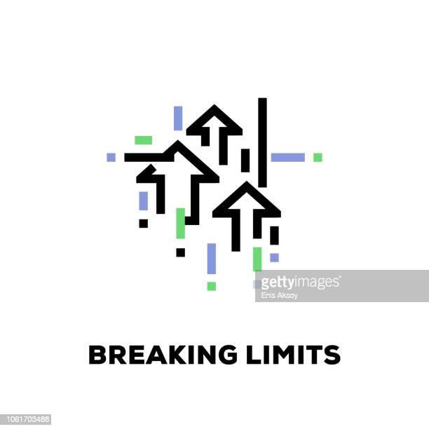 illustrations, cliparts, dessins animés et icônes de briser les limites ligne icône - motivation
