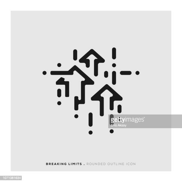 breaking limits rounded line icon - freedom stock illustrations