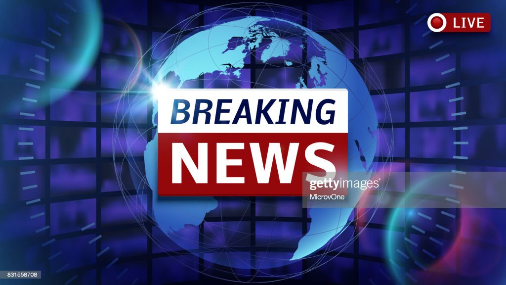 Breaking news broadcast vector futuristic background with world map