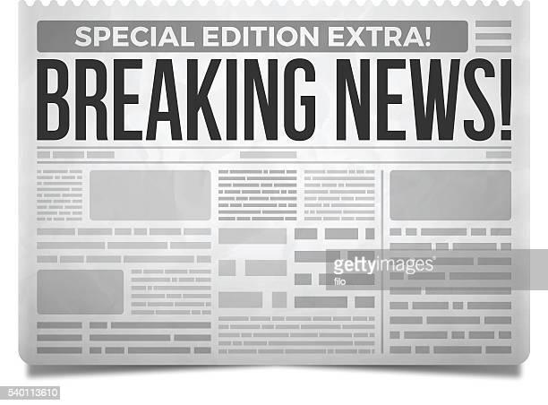 breaking news newspaper - newspaper stock illustrations