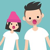 Breaking news. Two characters staring at something with open mouths / flat editable vector illustration, clip art