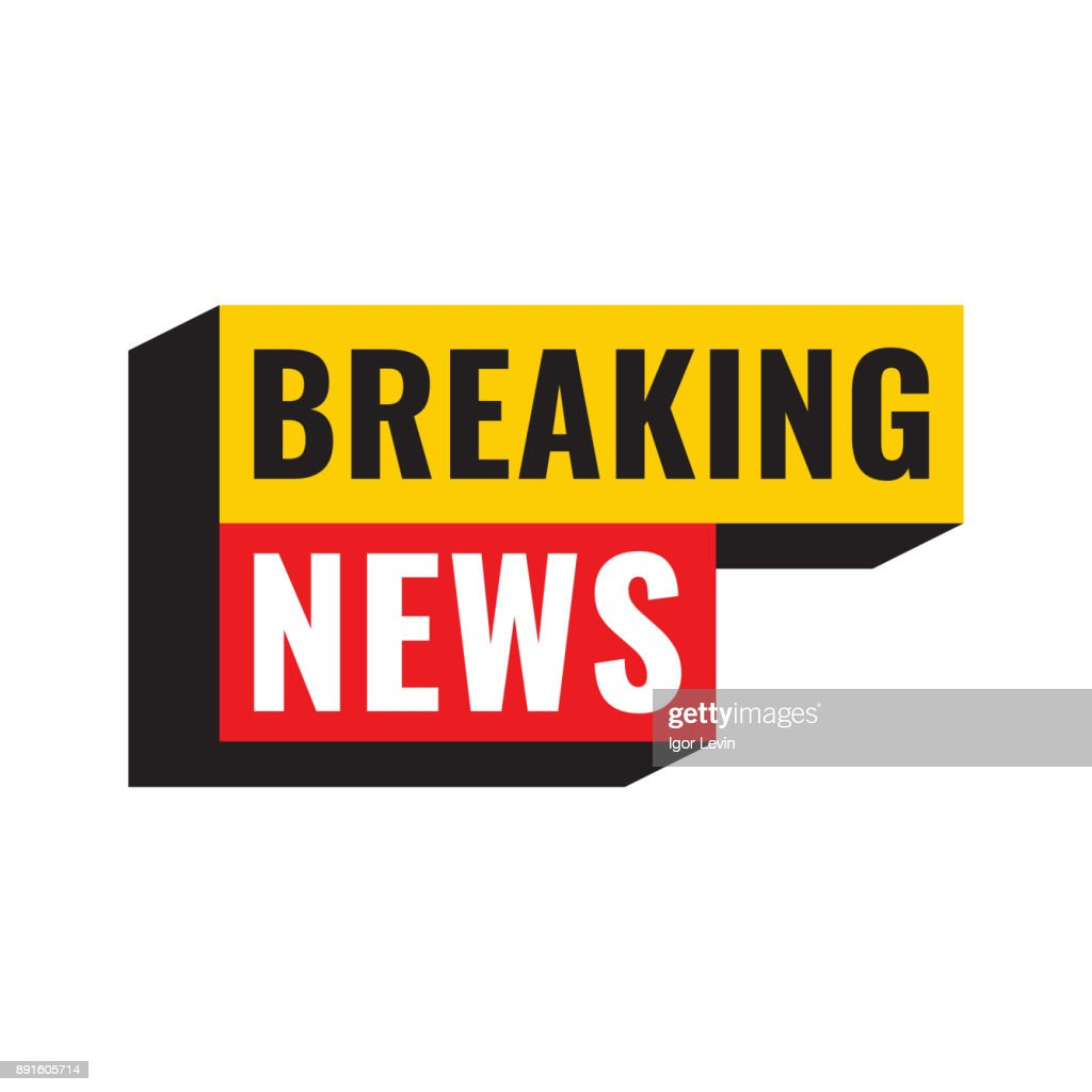 Breaking news. Vector illustration poster, banner, logo, badge on white background.