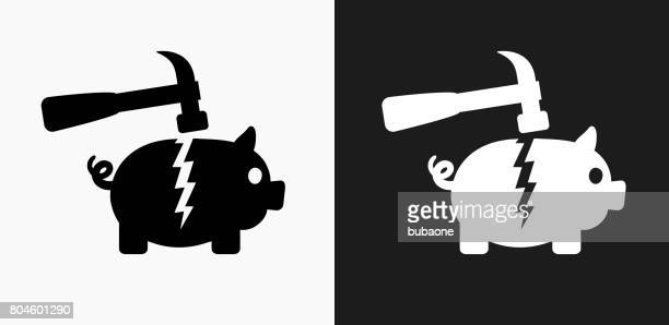 breaking piggy bank icon on black and white vector backgrounds - broken stock illustrations, clip art, cartoons, & icons