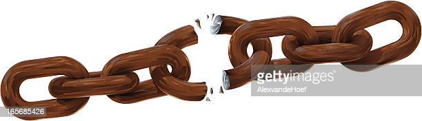 breaking rusty chain on white background - broken stock illustrations, clip art, cartoons, & icons