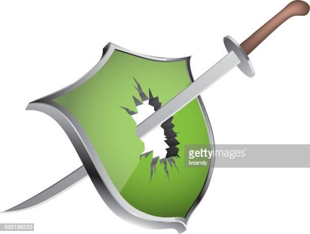 breaking the shield - broken stock illustrations, clip art, cartoons, & icons