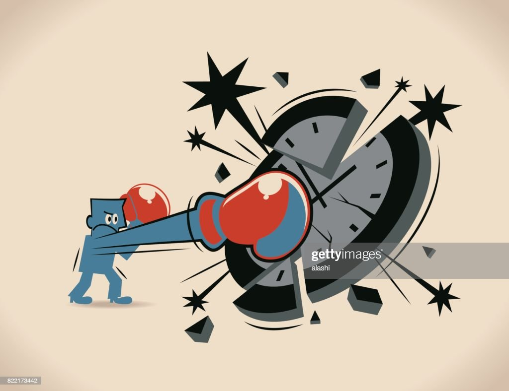 Breaking the time pressure. Businessman (boxer, man) with boxing glove (fist), punching (hitting, breaking) a clock face : stock illustration