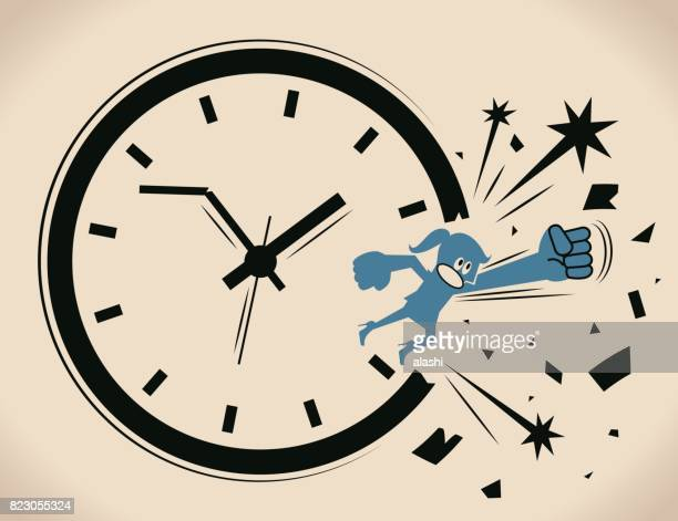 Breaking the time pressure. Businesswoman (woman, girl) breaking through a clock face. Concept about: break the routine ; break the cycle