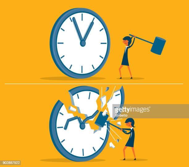 illustrations, cliparts, dessins animés et icônes de casser la pression du temps - femme d'affaires - crouler sous le travail
