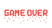 breaking up pixel game over text