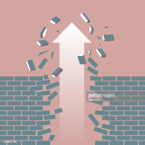 illustrations, cliparts, dessins animés et icônes de barrière de percée - mur de briques