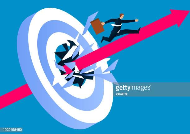 breakthrough the target, go forward, conquer adversity - sales occupation stock illustrations