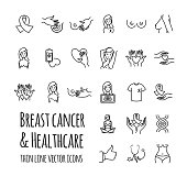 Breast cancer and healthcare vector icons set