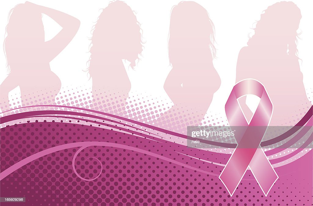 Breast cancer awareness banner with silhouettes