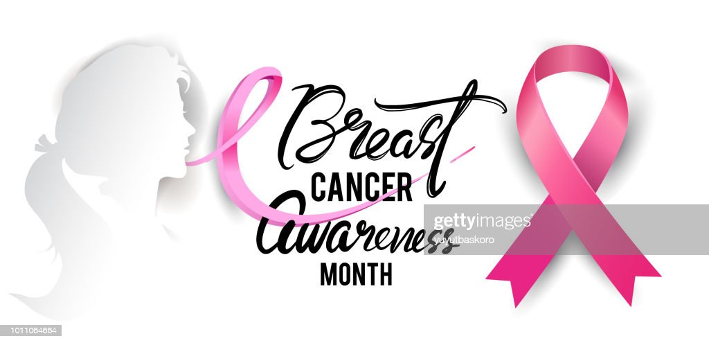 Breast Cancer Awareness Calligraphy Poster Design with Realistic pink ribbon