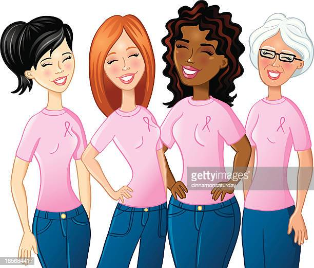 breast cancer awareness group of women - only women stock illustrations, clip art, cartoons, & icons