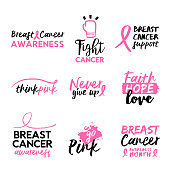 Breast cancer awareness hand drawn text quote set