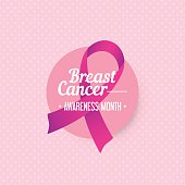 Breast cancer awareness month banner with pink ribbon symbol.