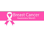 Breast Cancer Awareness Month. Banner with shadow and ribbon on a white background. Vector illustration