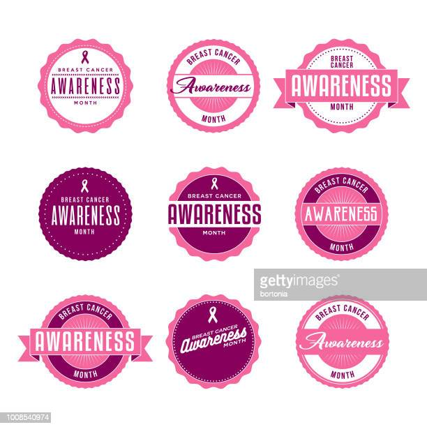 Breast Cancer Awareness Month Labels Icon Set
