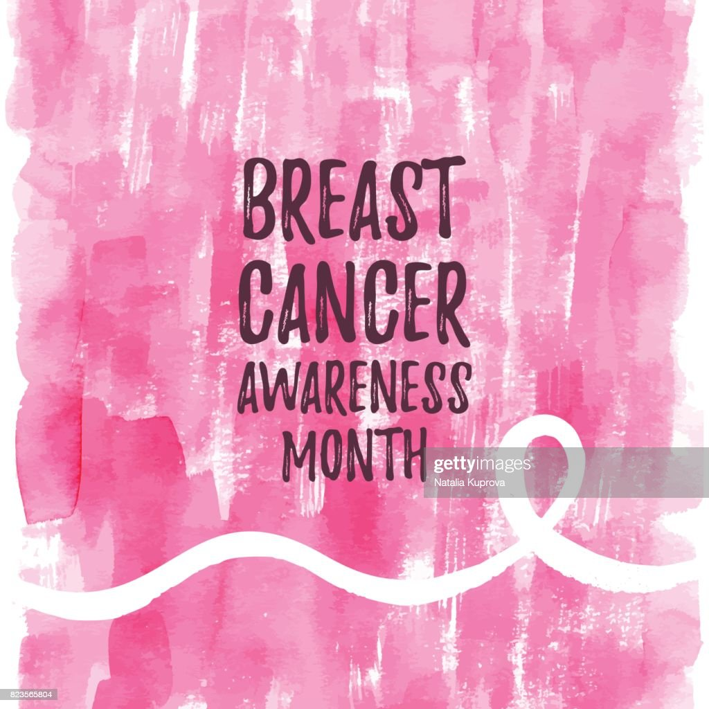 Breast Cancer Awareness Month ribbon banner, poster. Vector text on pink watercolor background, white ribbon.
