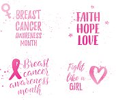 Breast Cancer Awareness Month ribbon, Faith Hope Love, Fight like a Girl banner, elements set. Vector pink gradient text on white background with ribbon, bow, bouquet, heart, wave.