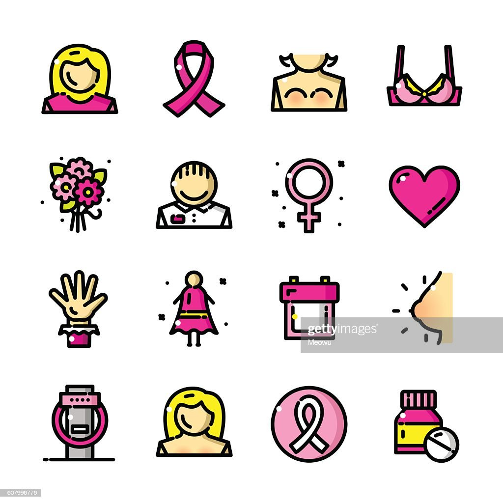 Breast Cancer Awareness Month vector icons