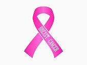 Breast Cancer Awareness pink ribbon. Isolated on white background. Vector illustration