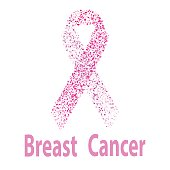 Breast cancer awareness pink ribbon made of dots. Women healthcare concept.