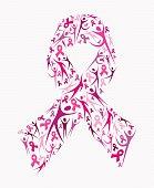 Breast cancer awareness pink ribbon shape social