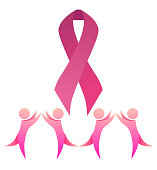Breast cancer awareness. Pink ribbon with dancing people. Unity.