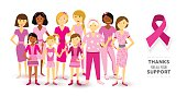 Breast cancer awareness pink women happy ribbon