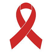 Breast cancer awareness red ribbon icon vector simple