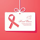 Breast cancer awareness ribbon card poster banner design