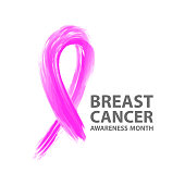 Breast cancer awareness ribbon logo template.